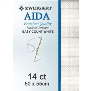 Zweigart  Aida 14ct : Easy Count White 50x55cm