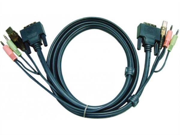 5m USB DVI-D Dual Link KVM Cable