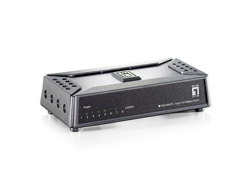 8-Port Fast Ethernet Switch, Unmanaged, Desktop Sized, Magnet Mount