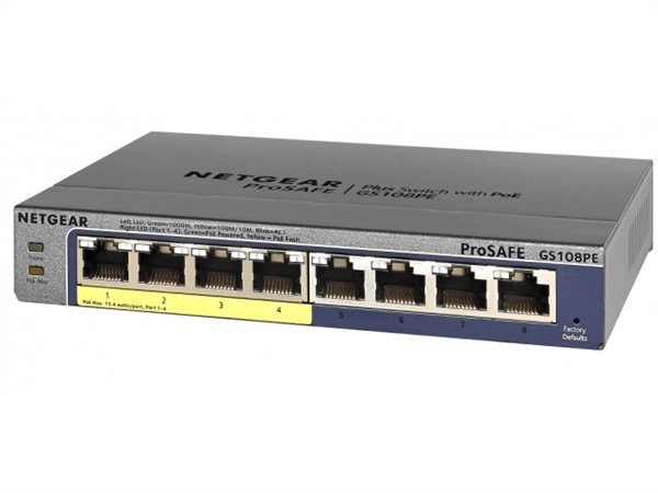 ProSAFE Plus 8-Port Gigabit Ethernet Switch, Desktop, 4 PoE Ports