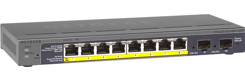 ProSafe 8-port Gigabit Ethernet PoE Smart Switch, 2 Gigabit SFP Ports, 46W Total PoE Budget