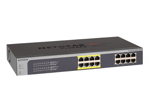 ProSAFE Plus 16-Port Gigabit Ethernet Switch, Rackmount, 8 PoE Ports