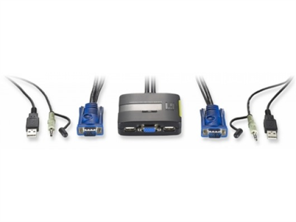 2-Port USB KVM Switch With Audio and Built-in Cables