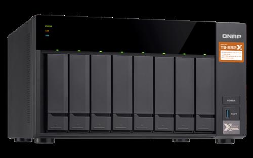 8-Bay NAS, QAL-324 1.7GHz Quad Core CPU, 2GB RAM, 2 10GbE SFP+, 2 GigE
