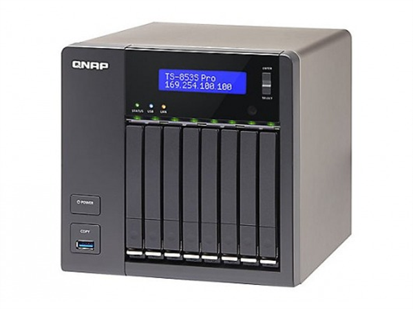 8-bay 2.5in. SATA NAS, Quad-core Intel Celeron 2.0GHz CPU, 4GB DDR3L (Max. 8GB) RAM, 2 x Gigabit Ethernet, Tower Chassis