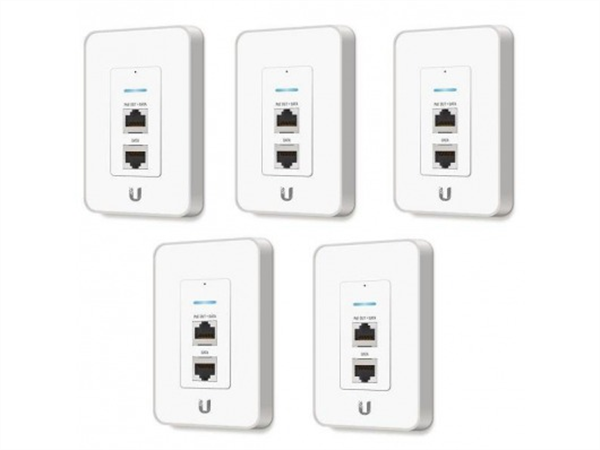 5-pack of UniFi AP In-Wall Access Point with PoE Passthrough Port