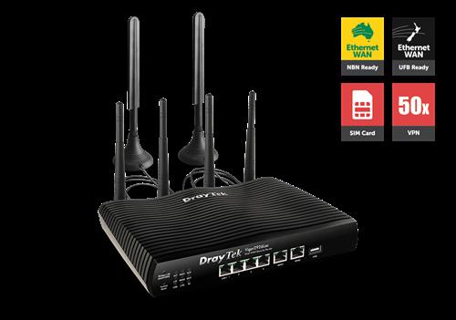 4G Router/Firewall, Dual GigE WAN, IPSec & PPTP VPN, QoS, 802.ac WiFi DV2926LAC