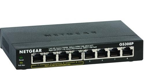 8-Port Gigabit Switch, 4 PoE Ports, Unmanaged, Desktop Sized