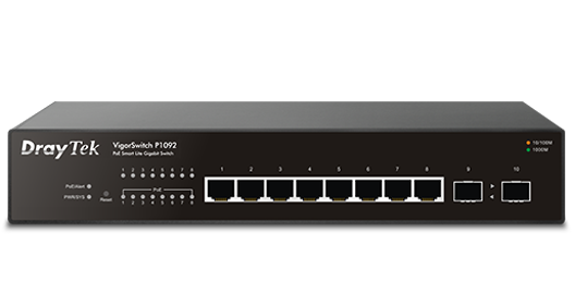 10-Port Gigabit Ethernet PoE/PoE+ Smart Switch, 8 PoE Ports, 2 SFP