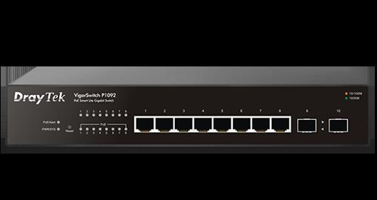 10-Port Gigabit Ethernet PoE/PoE+ Smart Switch, 8 PoE Ports, 2 SFP