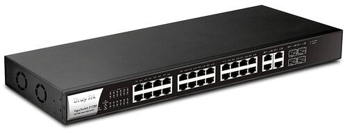 28-Port Gigabit Ethernet PoE/PoE+ Smart Switch, 24 PoE Ports, 4 Combo RJ45/SFP