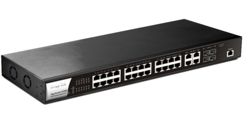 28-Port Gigabit Ethernet PoE/PoE+ Managed Switch, 24 PoE Ports, 4 Combo RJ45/SFP