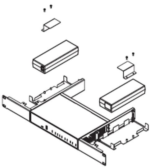 Rackmount kit with power adapter holder for Sophos SD-RED 60