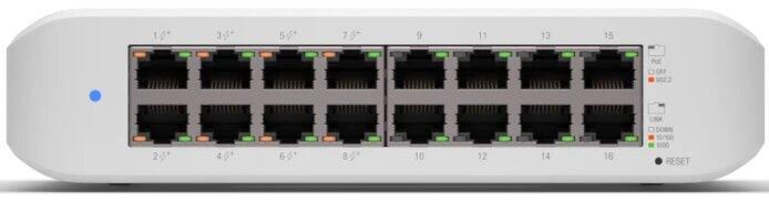 16-Port UniFi Gigabit Managed PoE+ Switch, 8x PoE Ports
