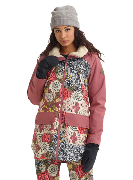 Burton Prowess Wmns Jacket - Cheetah Floral/Rose Brown