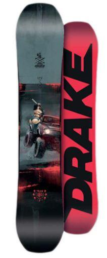 Drake DF Team Snowboard Grey/Red/Black