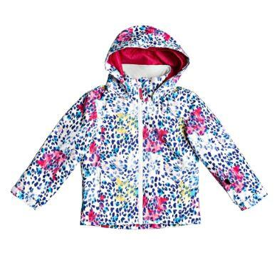 Roxy Mini Jetty Kids Jacket - Bright White Leopold